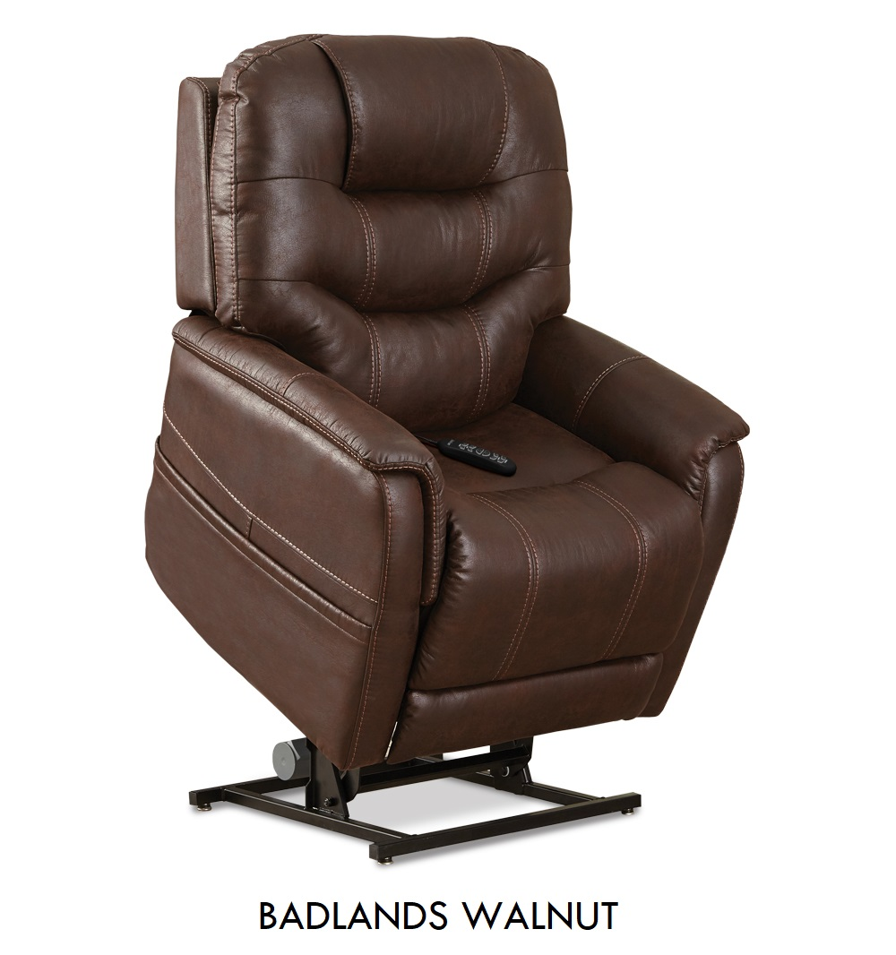 The Pride VivaLift! Tranquil in Badlands Walnut fabric, a rustic dark brown fabric.