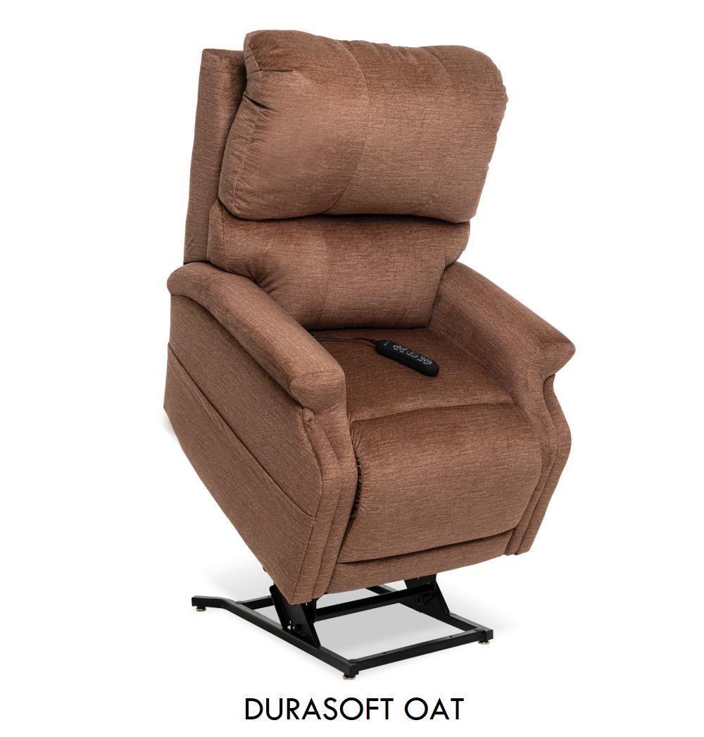 The Pride VivaLift! Escape in Durasoft Oat fabric, a rustic light brown fabric.