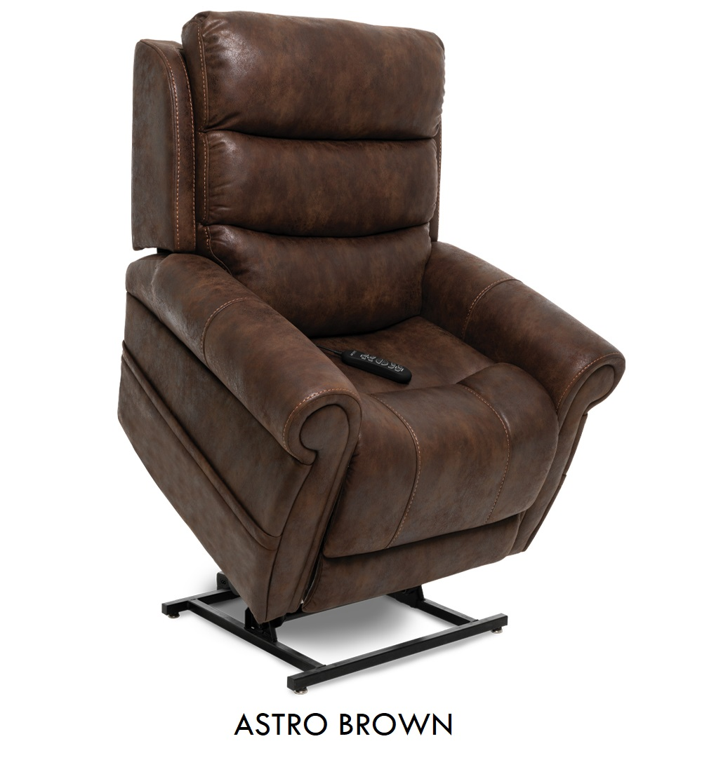 The Pride VivaLift! Tranquil in Astro Brown fabric, a rustic brown fabric.