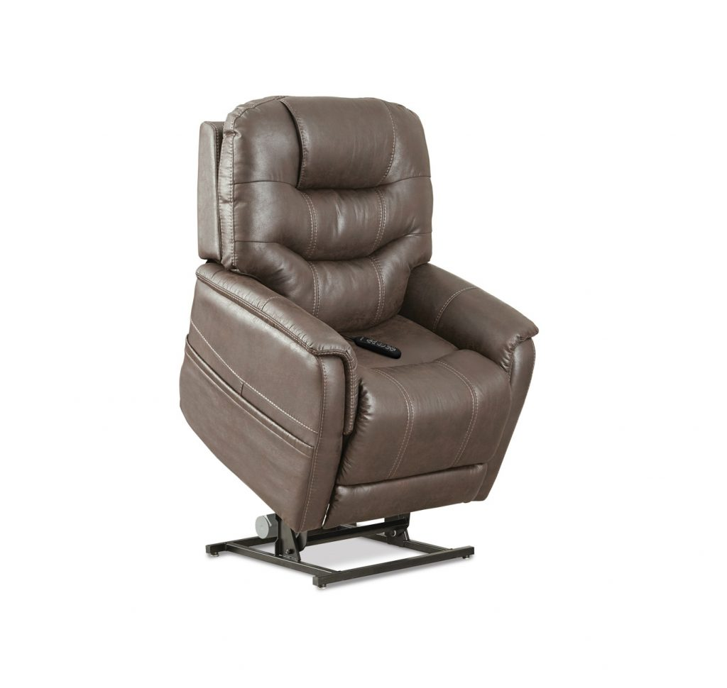 The Pride VivaLift! Elegance lift chair in Badlands Mushroom fabric, a rustic light brown fabric.