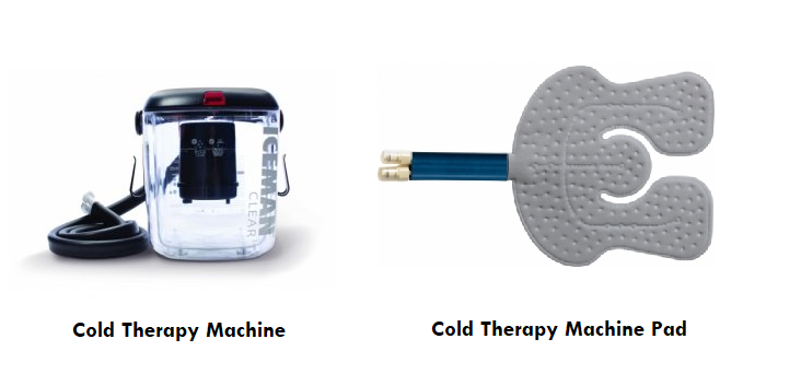 Example image of a cold therapy machine rental unit. The DonJoy Iceman 3 unit is shown next to an example 'universal' cold therapy machine pad.
