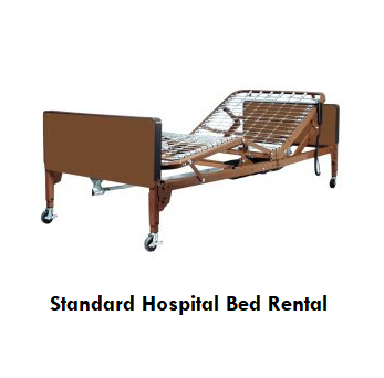 An example image of a hospital bed rental unit. The unit is shown without a mattress or rails, with the spring-frame headboard raised to a 45-degree angle.
