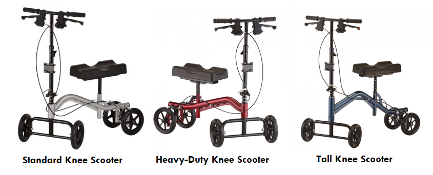 3 common styles of knee-scooter rentals. From left to right: A standard knee scooter in silver with black accents, a heavy-duty knee scooter in red with black accents, and a tall knee scooter in blue with black accents.