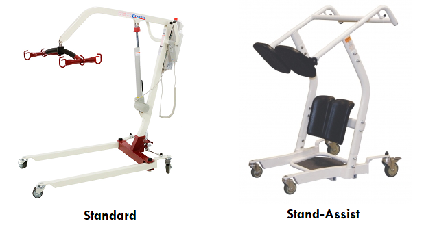 2 common styles of patient lift rentals. The left image shows a standard electric patient lift with a 4-pronged sling holder connected to one arm lift. On the right side there is a manual stand-assist lift in white with black shin and shoulder pads.
