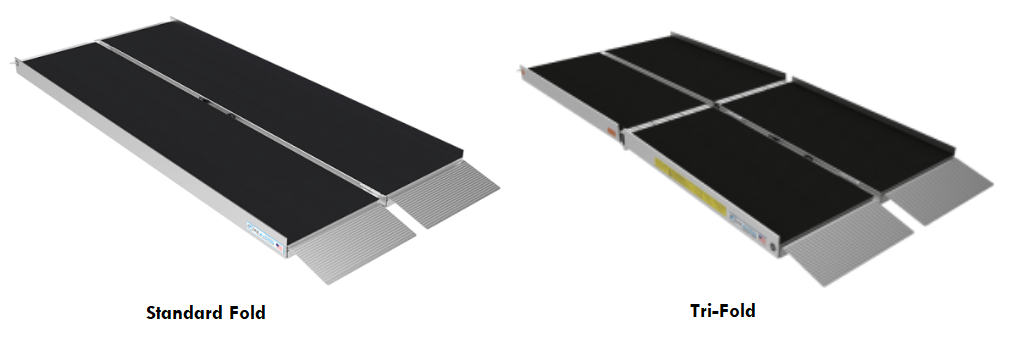 2 common styles of ramp rental units. On the left is a standard, middle-folding ramp in silver with black grip tape. The right side shows a tri-fold ramp in silver with black grip tape.