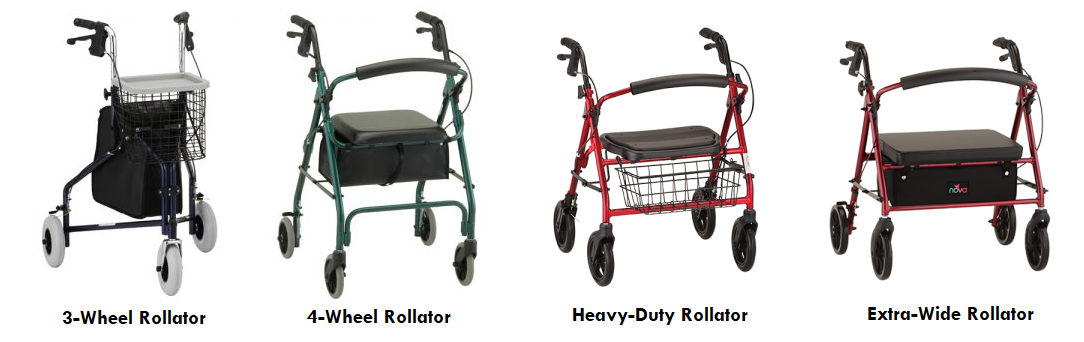 4 common styles of rollator rental units. From left to right: A 3-wheel rollator in blue, a 4-wheel rollator in red, a heavy-duty 4-wheel rollator in red with black accents, and an extra-wide rollator in red.