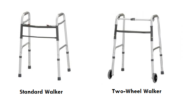 2 common rental walker styles. Left side shows a standard walker with 4 tips. The right side shows a standard walker with 2 wheels in front and 2 tips in back.