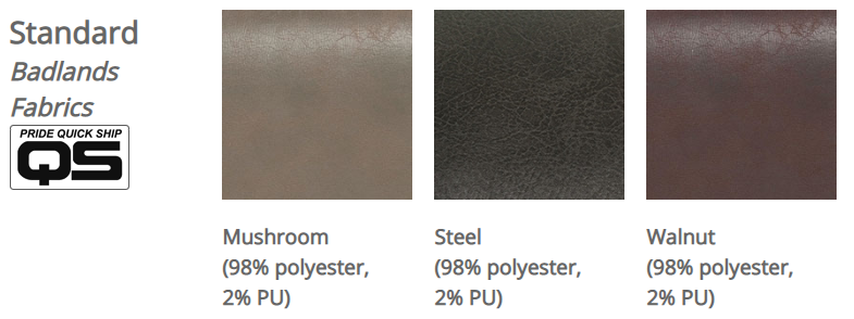 Pride VivaLift! Badlands Fabrics. From left to right: Mushroom, Steel, Walnut.