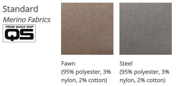 Pride VivaLift! Merino fabrics. Left: Fawn. Right: Steel.