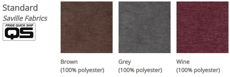 Pride VivaLift! Saville fabrics. From left to right: Brown, Grey, Wine.