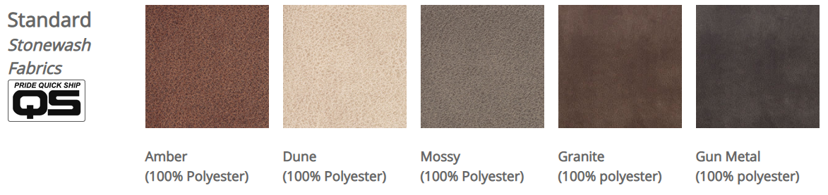 Pride Stonewash fabrics. From left to right: Amber, Dune, Mossy, Granite, Gun Metal grey.