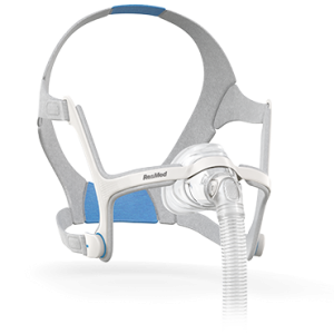 Picture of the ResMed N20 AirFit Nasal CPAP Mask. Clear mask with grey straps and blue accents.