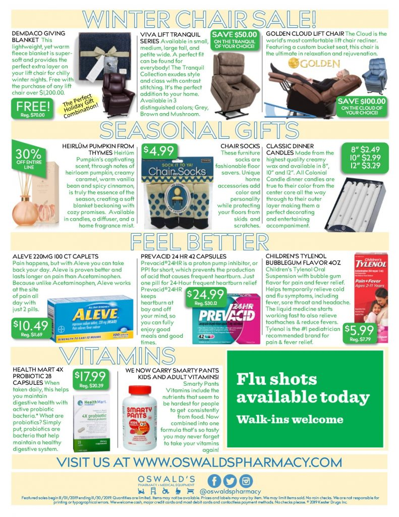 Oswald's Pharmacy Promotions flyer for November 2019. Sales on medical equipment, rentals, toys and more. Page 2