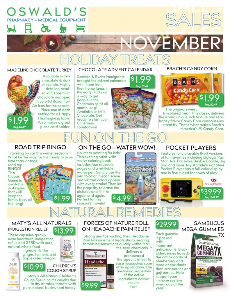 Oswald's Pharmacy Promotions flyer for November 2019. Sales on medical equipment, rentals, toys and more. Page 1