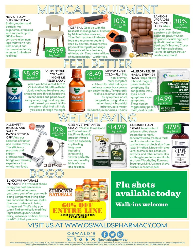 Oswald's Pharmacy Promotions flyer for October 2019. Sales on medical equipment, rentals, toys and more. Page 2