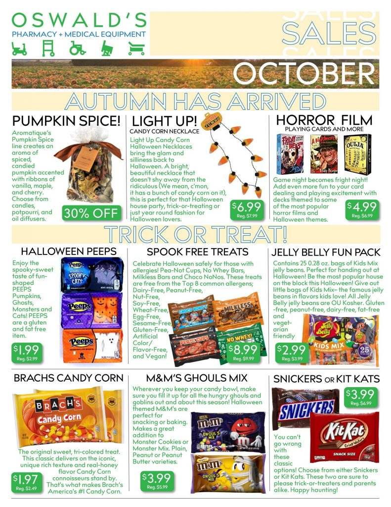 Oswald's Pharmacy Promotions flyer for October 2019. Sales on medical equipment, rentals, toys and more. Page 1