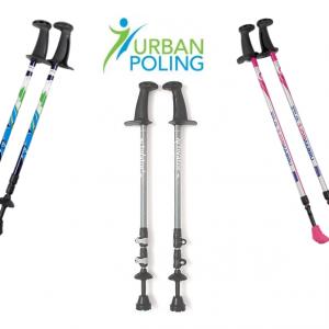 Urban Poling Nordic walking poles product image. 3 pairs of Nordic walking poles surrounding the Urban Poling logo.