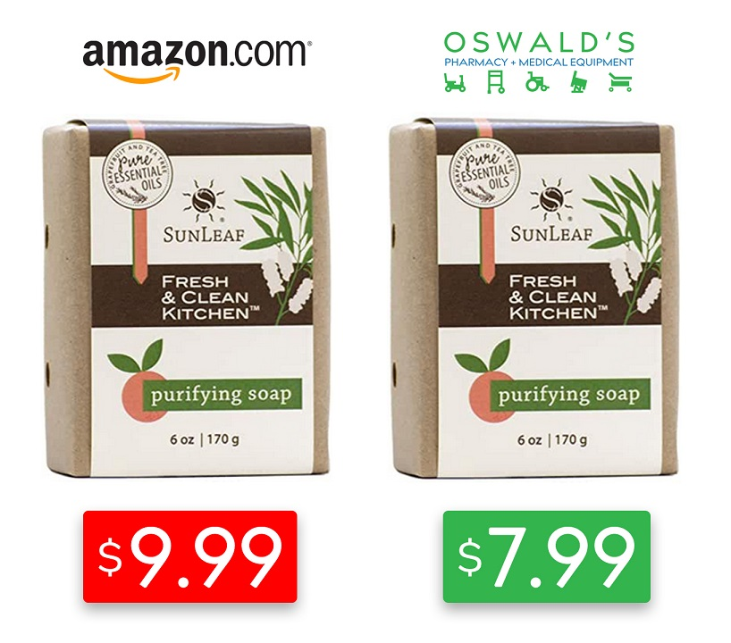 Amazon versus Oswald's price comparison showing Sunleaf Naturals soap detergent bar. On the left is the Amazon price at $9.99, on the right is Oswald's at $7.99.