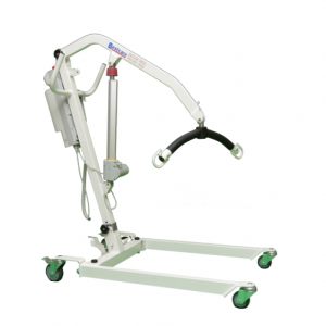 The Bestcare PL400EF transportable, folding patient lift. The unit is shown facing to the right. Pearl white with red and grey accents.