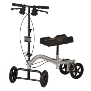 Nova TKW-12 knee walker. Silver body, black parts on a white background.