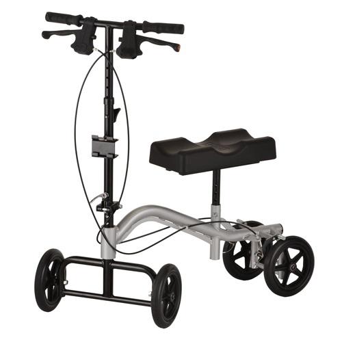 Nova TKW-12 knee walker. Silver body, black parts on a white background.
