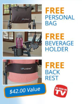 """UPWalker Lite features image. Shows three pictures. From top to bottom: Free personal bag (in black, shown on the UPWalker Lite), Free beverage holder (shown attached to the UPWalker Lite), Free backrest (shown on the UPWalker Lite with an older woman sitting in it). """"A $42.00 Value"""" and """"As seen on TV"""" text boxes on image bottom."""