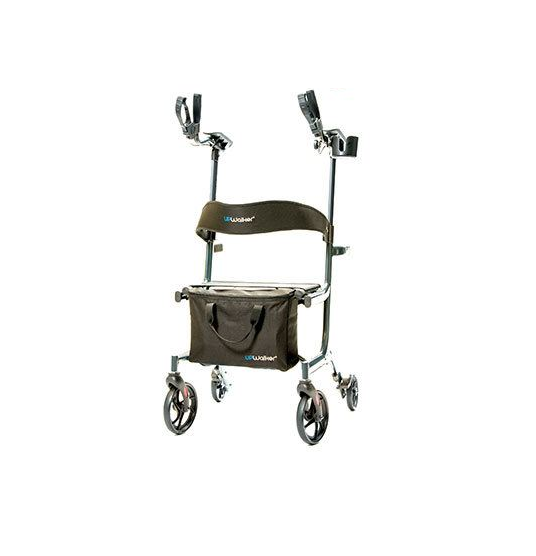 """UPWalker Lite shown against a white background. Upright walker with 8"""" front wheels, 6"""" back wheels, a seat with backrest, and extended platform arms. Unit shown in black."""