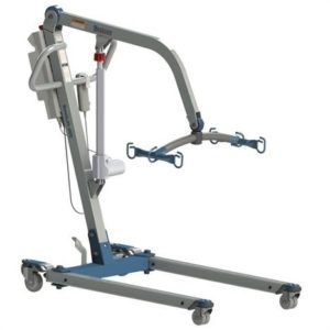 Bestcare PL400E patient lift. Lift shown in lowered position. White and grey with light blue accents. Full electric patient lift.