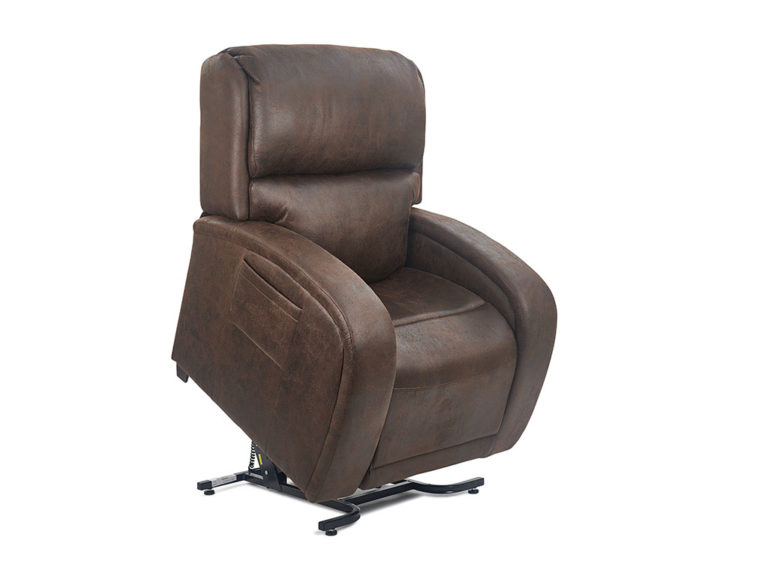 Golden EZ Sleeper Lift Chair. The chair is shown in the upright position. Fabric is Golden's Bourbon fabric, a textured dark brown style.