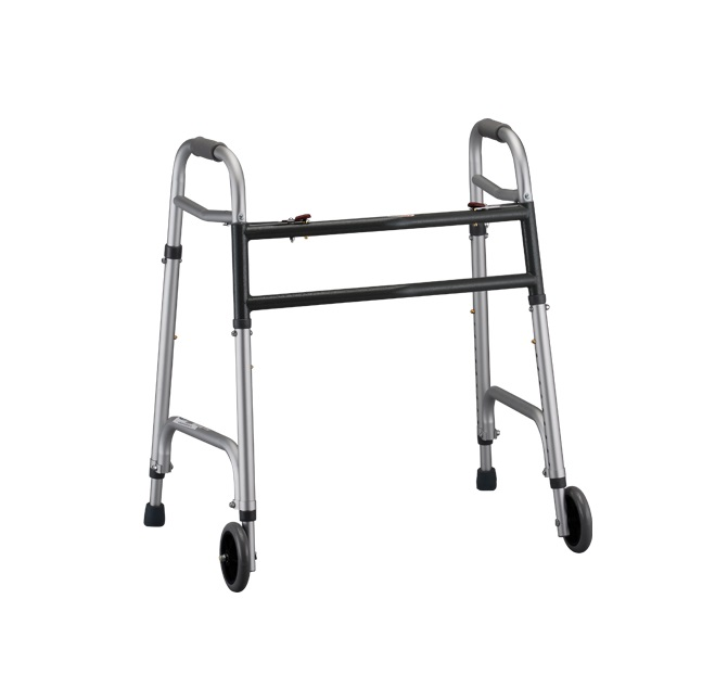 Nova Heavy Duty Walker with wheels. The walker is silver with gunmetal colored accents and crossbars. Adjustable front legs & wheels and back legs with rubber tips.