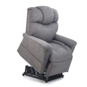 Golden Orion Lift Chair product image. Lift chair is shown in the raised position. Fabric is Golden's Anchor fabric, a textured medium grey fabric.