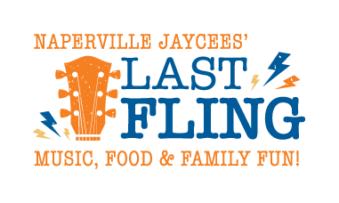 "Naperville Jaycees' Last Fling Logo. ""Music, Food, & Family Fun!"""