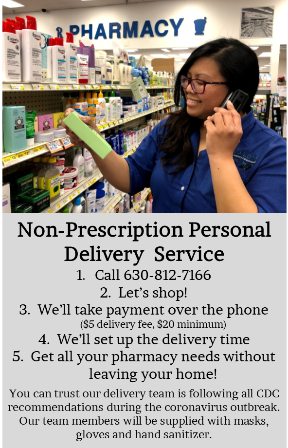 Non-Prescription Personal Delivery Service. Oswald's offers non-rx deliveries 5 days a week to Naperville residents for a $5 charge. Photo of Oswald's employee setting up a local delivery on the phone.