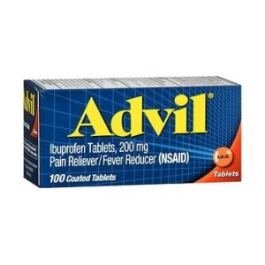 Advil Tablets 100 count. Retail box of Advil Tablets 100 is shown on a white background.
