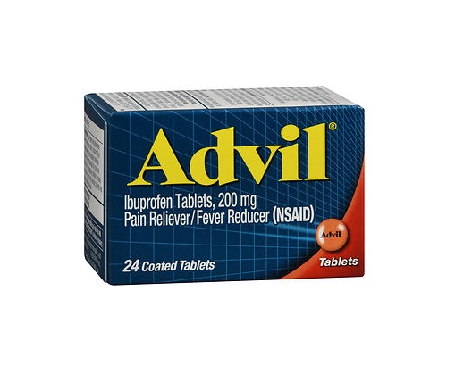 Advil Tablets 24 count. Retail box of Advil Tablets 24 is shown on a white background.