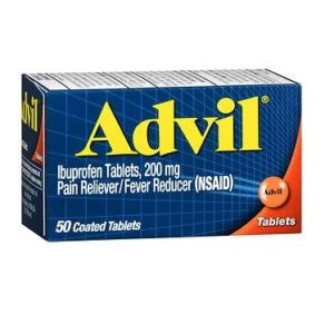 Advil Tablets 50 count. Retail box of Advil Tablets 50 is shown on a white background.