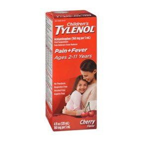 Children's Tylenol Cherry 4oz. Box shown.