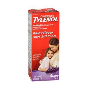 Children's Tylenol Grape 4oz. Box shown.