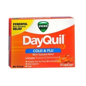 Dayquil Liquicaps 24. Box shown.
