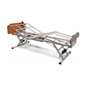 Patriot LX Hospital Bed. Bed shown without a mattress. Head and foot sections shown raised at 30 degree angles.