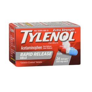 Tylenol Rapid Release Gelcaps 24. Box shown.