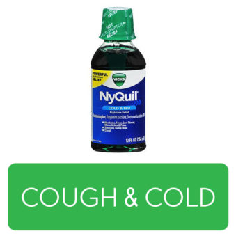 Cough & Cold category button. Picture of Nyquil over a clickable green button.