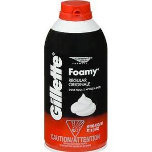 Gillette Foamy Shave Cream Regular 11oz. Can shown.