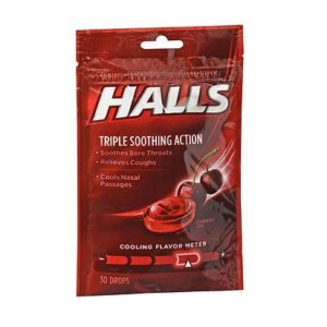 Halls Cough Drops Cherry 30. Bag shown.