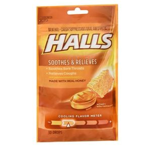 Halls Cough Drops Honey 30. Bag shown.