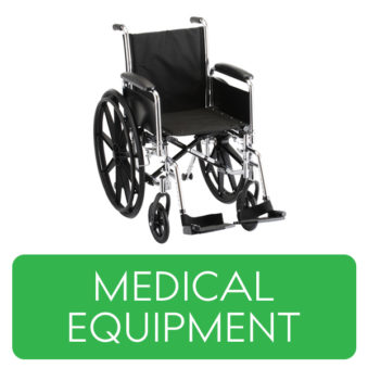 Medical Equipment category button. Picture of a wheelchair over a clickable green button.