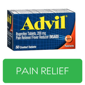 Pain Relief category button. Picture of Advil over a clickable green button.