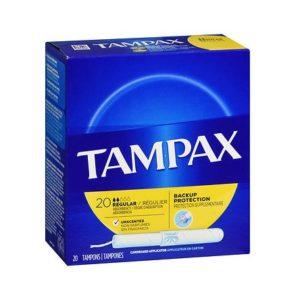 Tampax Regular 20. Box shown.