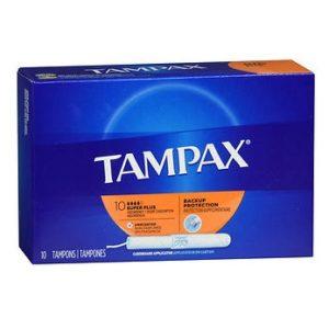 Tampax Super Plus 10. Box shown.