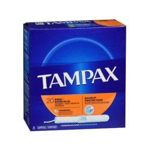 Tampax Super Plus 20. Box shown.